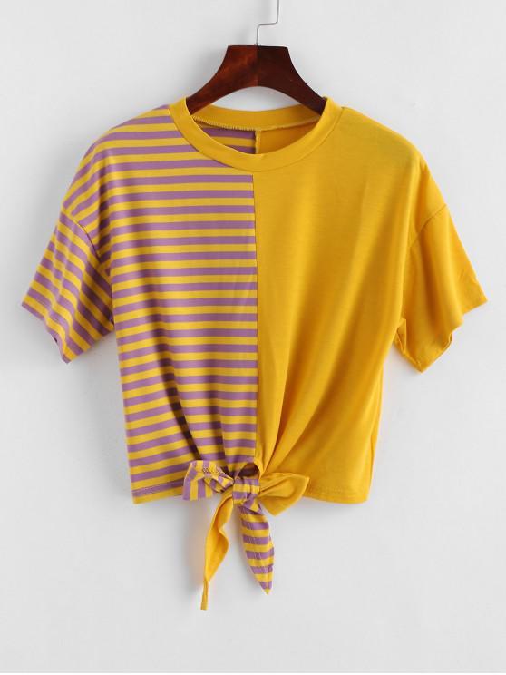 affordable Striped Tie Hem Spliced Cropped Tee - MULTI L