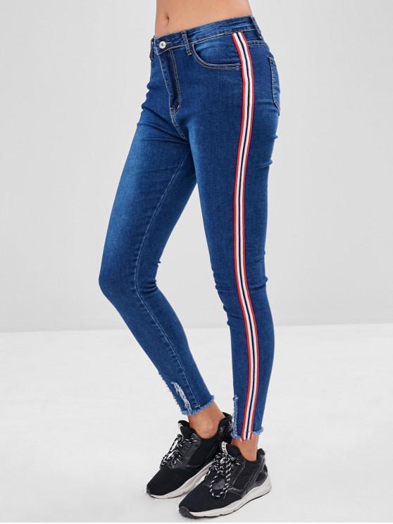 lady Frayed Hem Stripe Trim Skinny Jeans - BLUE XL