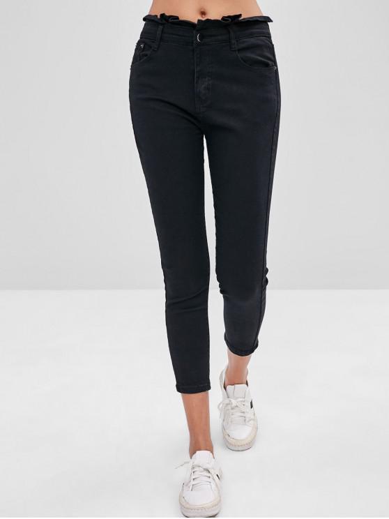 fashion Skinny Pocket Mid Rise Jeans - BLACK L