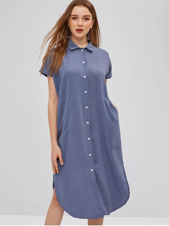 outfits Midi Shirt Dress - BLUE GRAY S