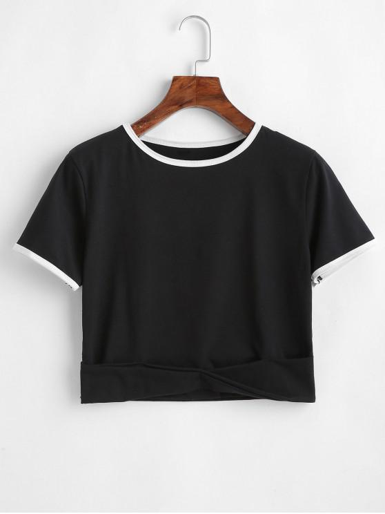 outfit Folded Cropped Ringer Tee - BLACK S
