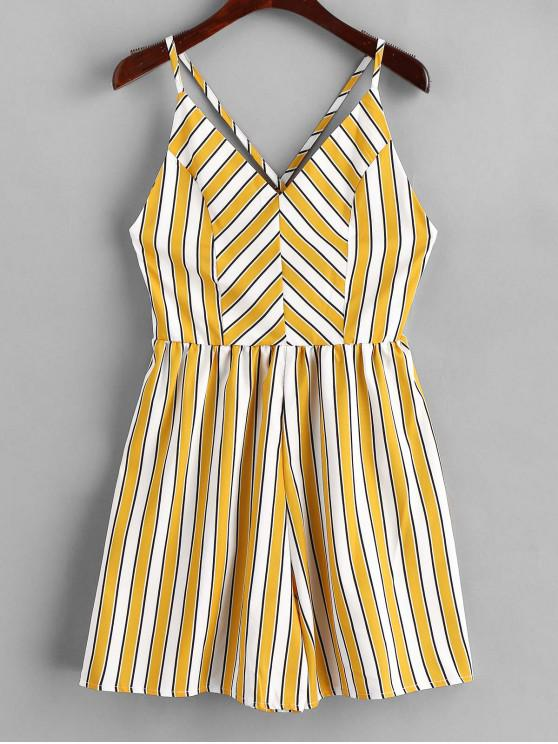 trendy Cami Stripes Criss Cross Romper - MUSTARD L