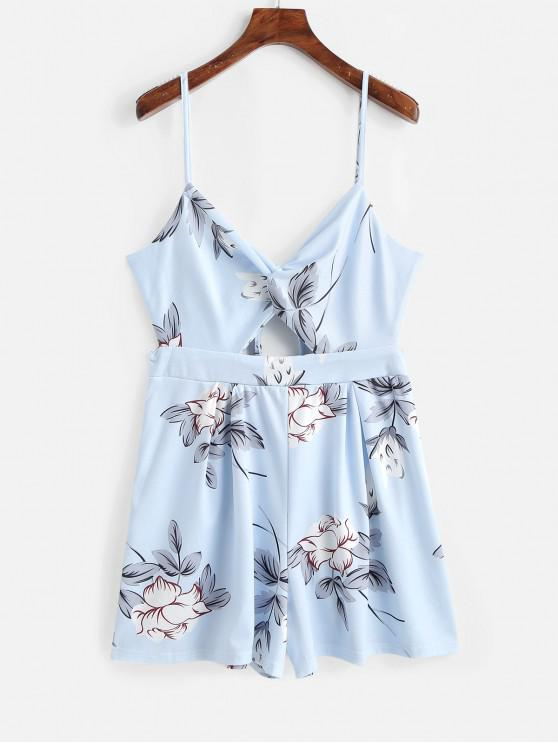 latest Twisted Cut Out Cami Romper - LIGHT SKY BLUE L