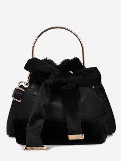 Bowknot Decoration Fuzzy Handbag - Black