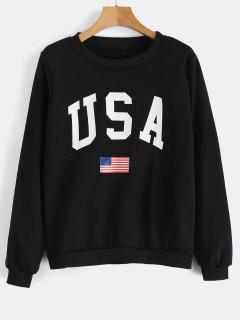 USA Flag Graphic Sweatshirt - Black M