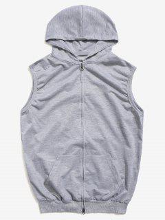 Solid Zipper Hooded Vest Jacket - Gray 2xl