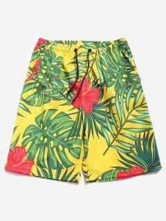 Flowes Leaves Print Beach Shorts - Multi-a 2xl