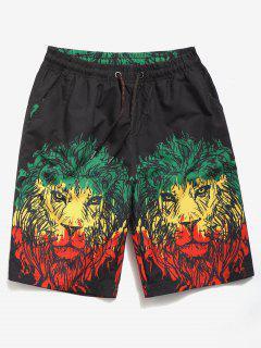 Lions Printed Beach Shorts - Black 2xl