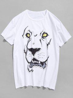 Lion Head Printed T-shirt - Milk White M
