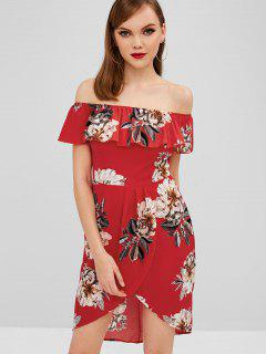 Floral Off Shoulder Asymmetrical Dress - Lava Red Xl