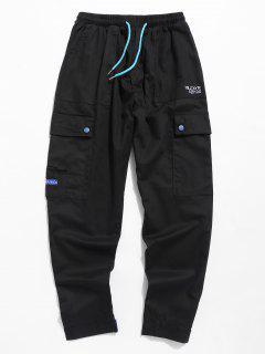 Drawstring Letter Embroidered Pocket Pants - Black M