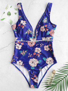 ZAFUL Flower Print Plunge Low Back Swimsuit - Multi L