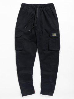 Letter Pocket Drawstring Pants - Black 3xl