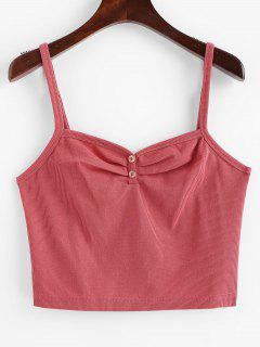 ZAFUL Ruched Buttoned Tank Top - Light Coral M