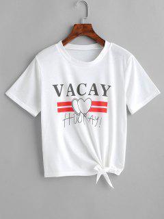 Camiseta Estampada Con Lazo En El Bajo - Blanco Xl