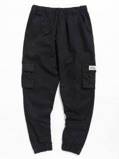 Pantalones De Jogger De Bolsillo Con Cordón Casual - Negro 3xl