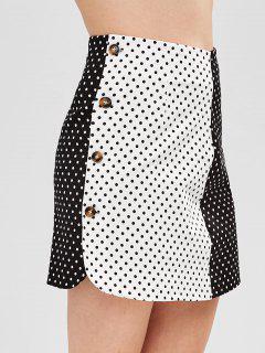 Two Tone Polka Dot Skirt - Black L