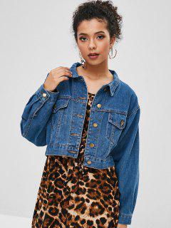 Pockets Button Up Denim Jacket - Blue