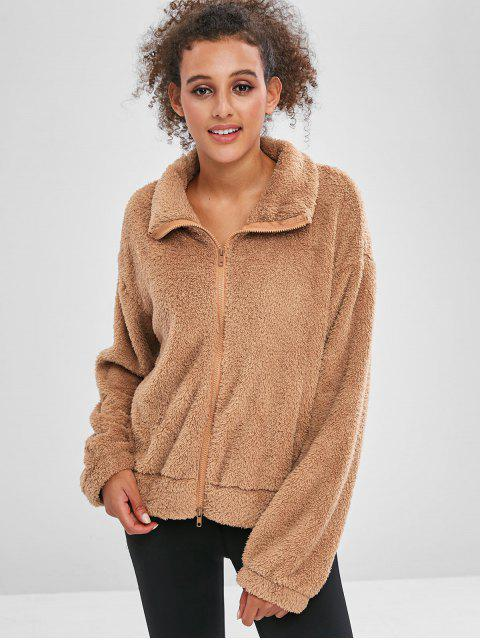 ZAFUL Fluffy Drop Shoulder Zipper Teddy Jacket - Braunes Kamel  M Mobile
