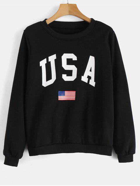 outfit USA Flag Graphic Sweatshirt - BLACK L Mobile