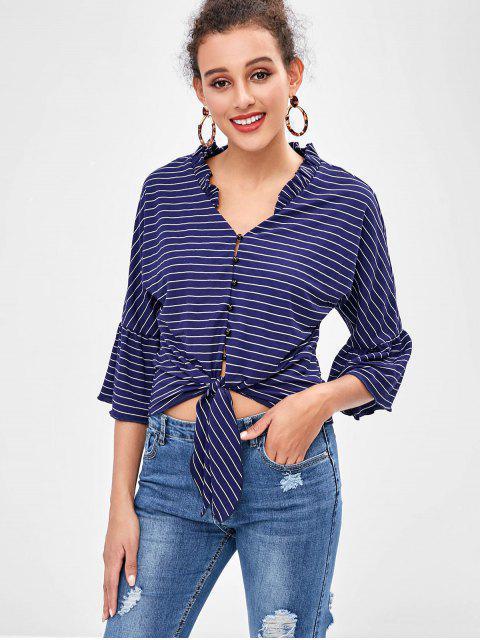 trendy ZAFUL Flare Sleeve Striped Knot Blouse - NAVY BLUE XL Mobile