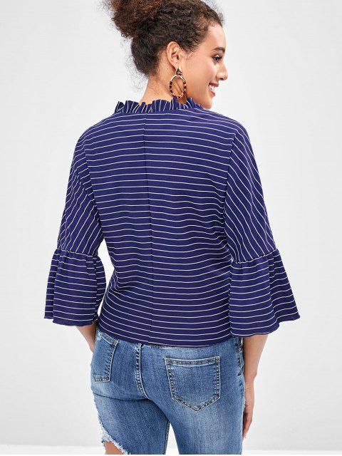 women ZAFUL Flare Sleeve Striped Knot Blouse - NAVY BLUE L Mobile