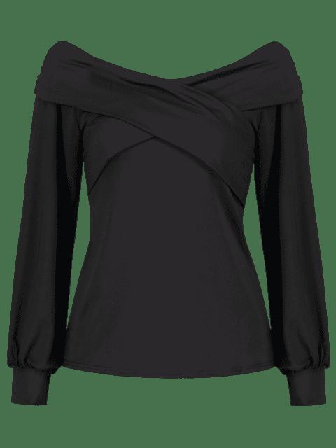 women's ZAFUL Cross Long Sleeve Off Shoulder Tee - BLACK M Mobile
