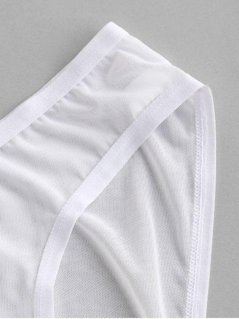 shops Mesh Sheer Low Rise Briefs - WHITE L Mobile
