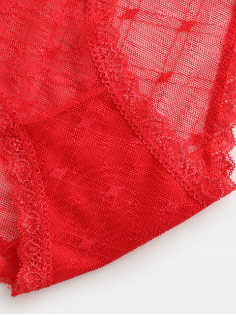womens Mesh Lace Trim Sheer Briefs - RED ONE SIZE Mobile