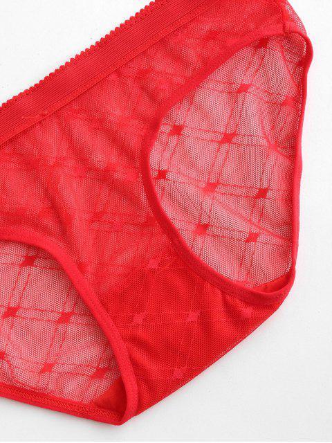Cuecas com Impresso de Malha Transparente - Vermelho Um Tamanho Mobile