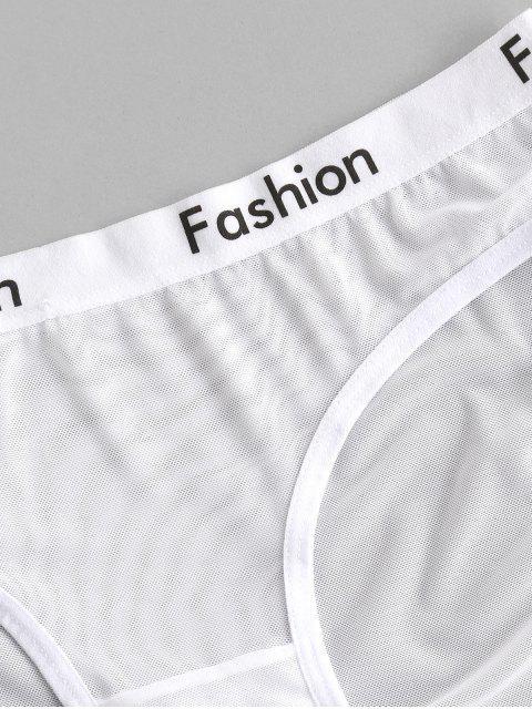 Slip Lettre Imprimée en Maille Transparente - Blanc Taille Unique Mobile