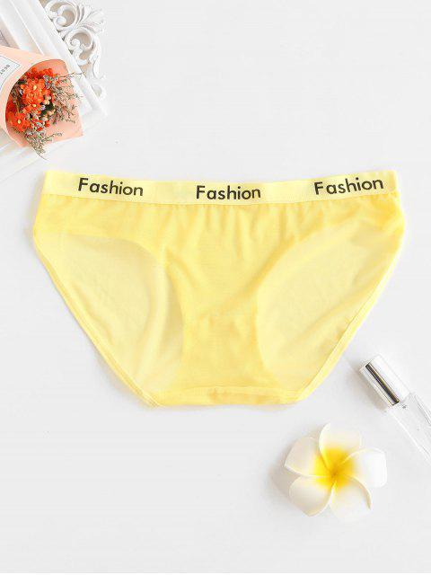 fancy Mesh See Thru Letter Print Briefs - CORN YELLOW ONE SIZE Mobile