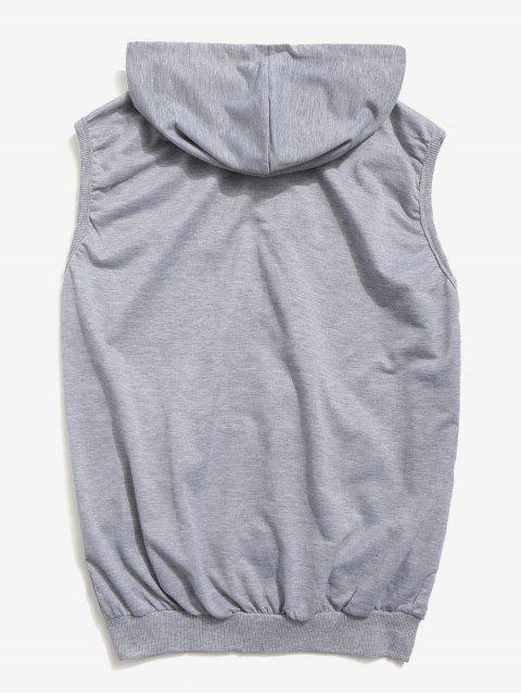 best Solid Zipper Hooded Vest Jacket - GRAY 2XL Mobile