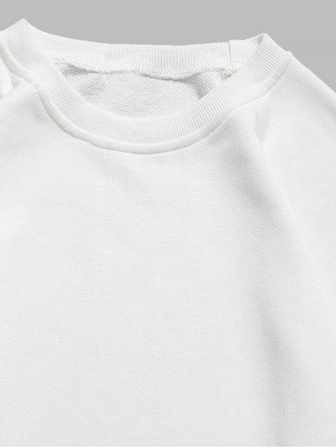 unique Elbow Patchwork Sweatshirt - WHITE XL Mobile