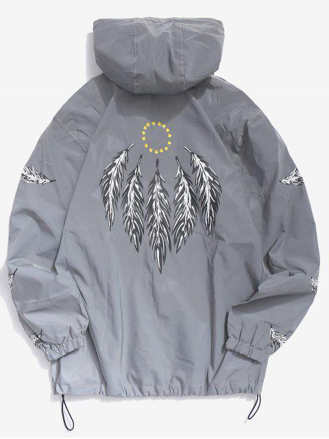 chic Feathers Reflective Light Jacket - GRAY XS Mobile