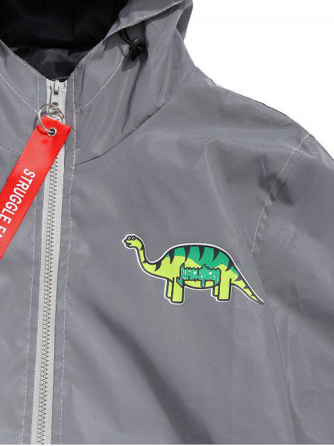 online Cartoon Animal Graphic Reflective Light Jacket - GRAY XS Mobile