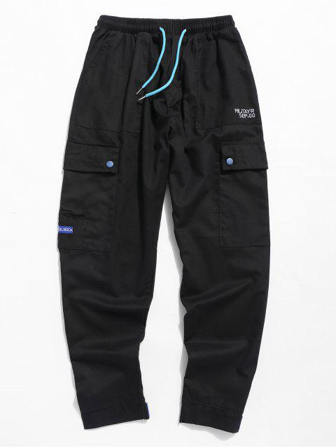 Pantalon de poche brodé avec une lettre à cordon - Noir 2XL Mobile