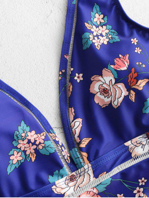 ZAFUL Maillot de Bain Plongeant Fleur Imprimé au Dos Bas - Multi M Mobile