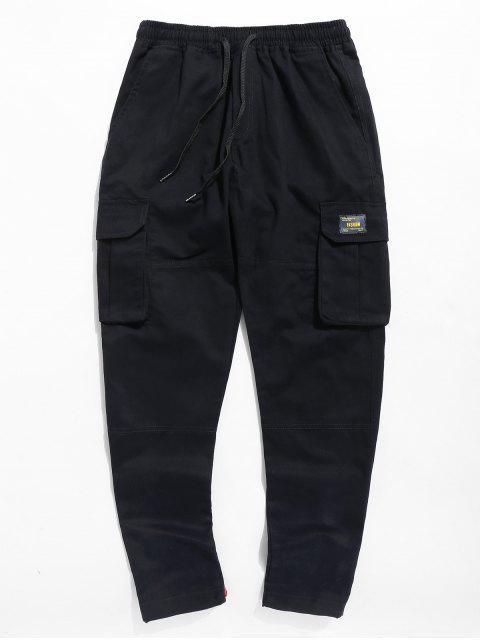 outfits Letter Pocket Drawstring Pants - BLACK 3XL Mobile