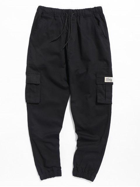 sale Casual Drawstring Pocket Jogger Pants - BLACK 3XL Mobile