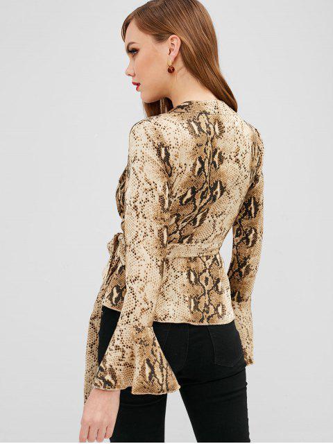 lady Snake Print Flare Cuffs Wrap Blouse - MULTI-A S Mobile