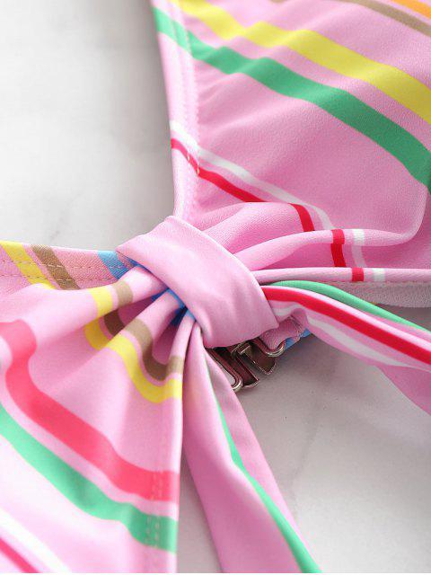 ZAFUL Traje de baño de una pieza con recorte de rayas - Rosado M Mobile