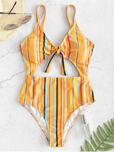 affordable ZAFUL Striped Cutout One Piece Swimsuit - BEE YELLOW L Mobile