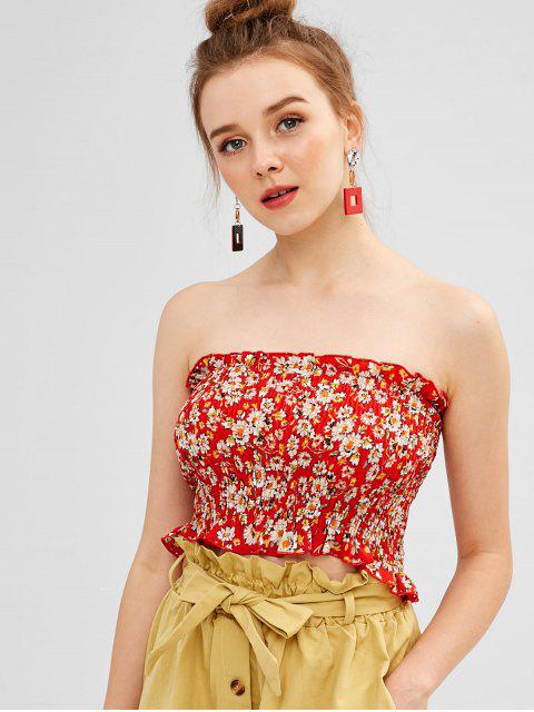 womens ZAFUL Smocked Floral Bandeau Top - RED M Mobile