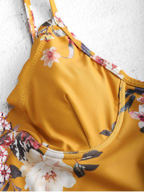 fancy ZAFUL Floral Scalloped Underwire Swimsuit - BEE YELLOW M Mobile