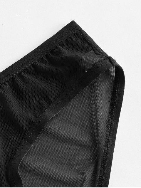 best Mesh Sheer Low Rise Briefs - BLACK L Mobile