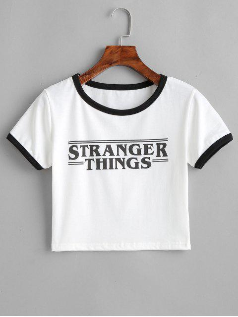 shops Contrast Graphic Cropped Ringer Tee - WHITE M Mobile