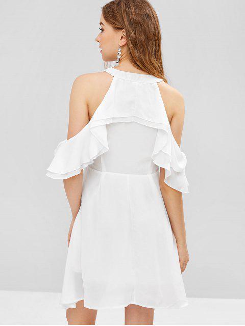 affordable V Neck Cold Shoulder Mini Dress - MILK WHITE L Mobile