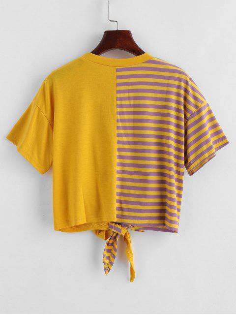 sale Striped Tie Hem Spliced Cropped Tee - MULTI S Mobile