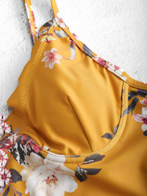 trendy ZAFUL Floral Scalloped Underwire Swimsuit - BEE YELLOW S Mobile